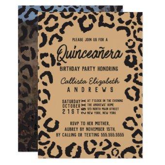 Black Gold Cheetah Leopard Quinceañera Photo