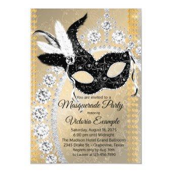 Black Gold Diamond Masquerade Birthday Party