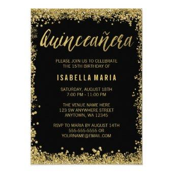 Black Gold Faux Glitter Quinceanera 15th Birthday Invitations