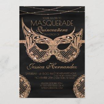 Black Gold Glitter Lace Masquerade Quinceañera