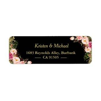 Black Gold Glitters Pink Floral Label