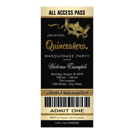 Black Gold Ticket Masquerade Party