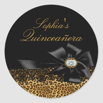 Black Leopard & Bow Sticker