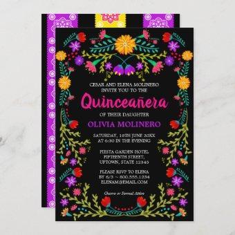 Black Mexican Fiesta Folk Art Floral