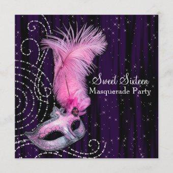 Black Purple Pink Sweet 16 Masquerade Party