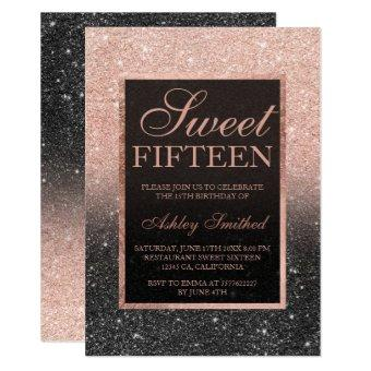 Black rose gold glitter elegant chic Sweet 15