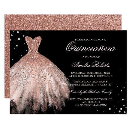 Black Rose Gold Sparkle Dress Invite