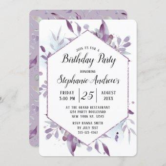 Blooming Amethyst Floral Watercolor Birthday Party
