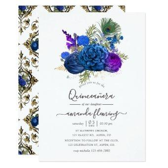 Blue and Gold Vintage Peacock Floral Quinceañera