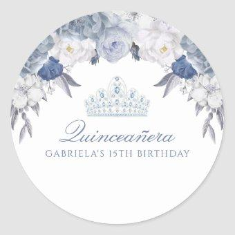 Blue and White Floral Classic Round Sticker