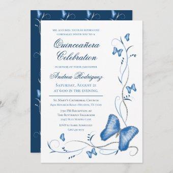 Blue Butterflies & Swirls