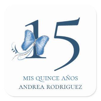 Blue Butterflies & Swirls Quinceañera Square Sticker
