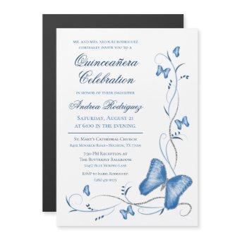 Blue Butterfly & Swirls Quinceañera Magnetic