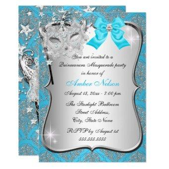 Blue Damask Mask Masquerade Invite