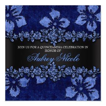 Blue Faux Glitter & Velvet Floral