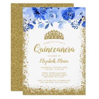 Blue Floral Faux Gold Glitter Tiara