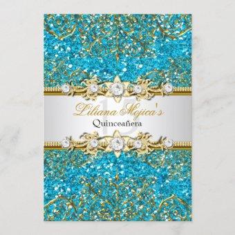 Blue Glitter & Gold Damask Invite