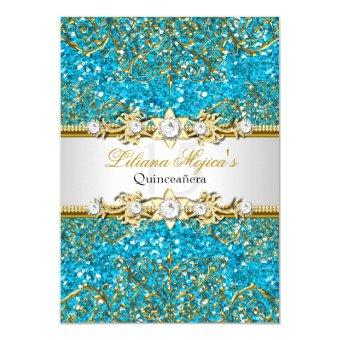 Blue Glitter & Gold Damask Invite