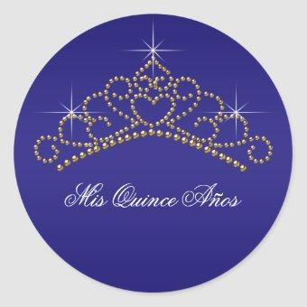 Blue Gold Tiara Sweet 15 16 Quinceana Label
