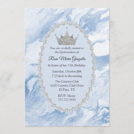 Blue Marble and Diamonds Crown Quinceañera