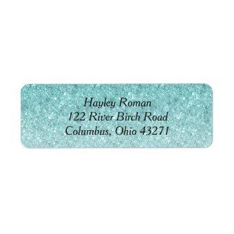 Blue Ombre Glitter Custom Address Label