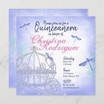 Blue Princess Carriage Quinceañera