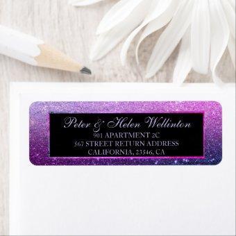 Blue purple ombre glitter elegant chic return label