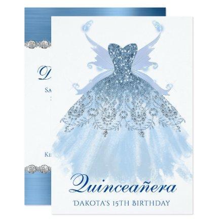 Blue Glitzy Sparkle Gown Pixie Wings