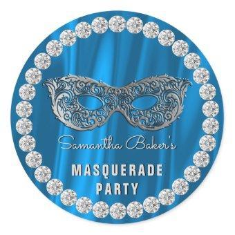 Blue Satin Diamonds Masquerade Party Glam Birthday Classic Round Sticker