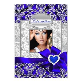 Blue & Silver Damask Announcements