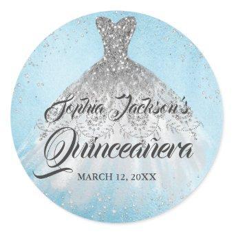 Blue Silver Diamond Sparkle Gown Classic Round Sticker