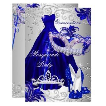Blue Silver Dress masquerade Invite