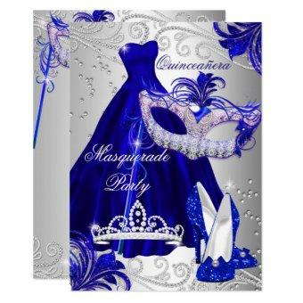 Blue Silver Dress masquerade Invite