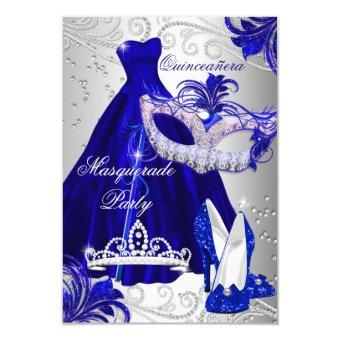 Blue & Silver Dress masquerade Quinceanera Invite