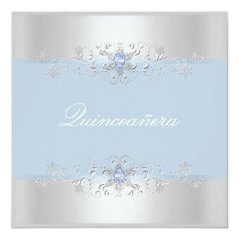 Blue & Silver Snow Gem Invite