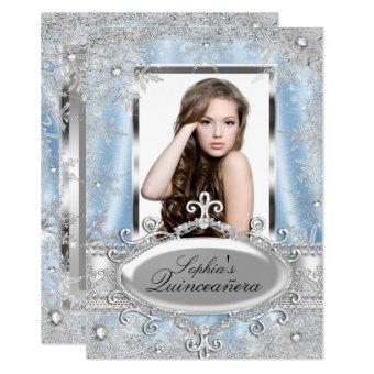 Blue Silver Sparkle Jewel Snowflake Quinceanera Invitation