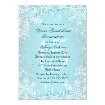 Blue Snowflake Winter Wonderland Quinceanera Invitation