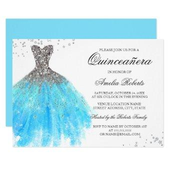 Blue Sparkle Dress Quinceanera Invitation