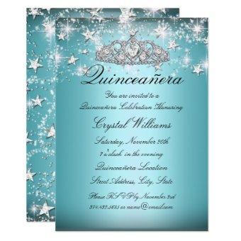Blue Sparkle Tiara Stars Invite