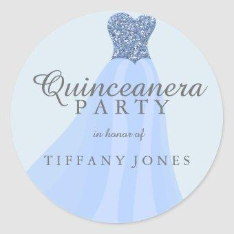 Blue Sparkling Glitter Gown Party Classic Round Sticker