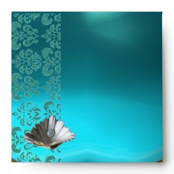 BLUE TEAL AQUAMARINE DAMASK BEACH WEDDING MONOGRAM ENVELOPE