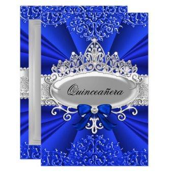Blue Tiara & Damask Invite