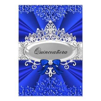 Blue Tiara & Damask Invite
