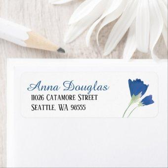 Blue Tulips Return Address Label Sheet