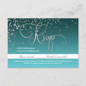Blue Turquoise Green Quinceanera Spanish RSVP Card