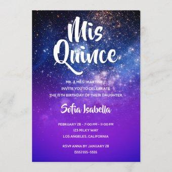 Blue Violet Ombre Cosmic Photo Mis Quince Birthday
