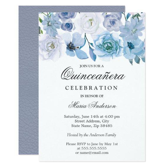 Blue Wonderland Gray Flower Invite