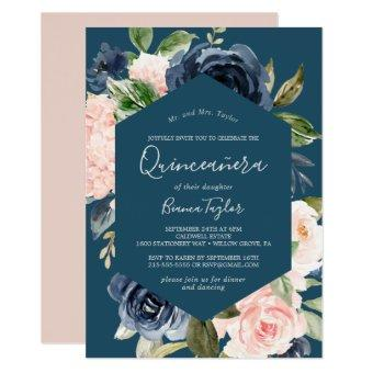 Blush and Navy Flowers | Blue Quinceañera