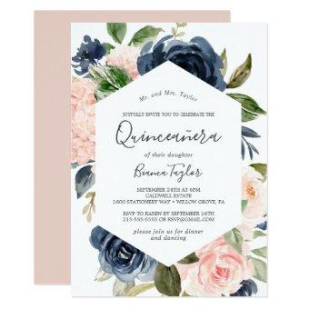 Blush and Navy Flowers | White Quinceañera