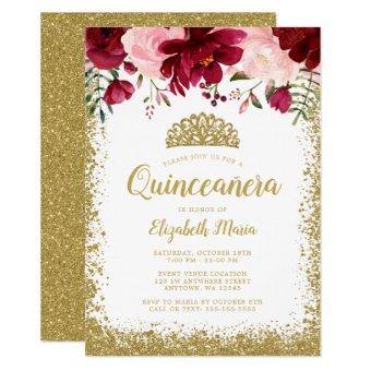 Blush Burgundy Floral Gold Tiara